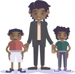 illustration d'une femme et ses enfants